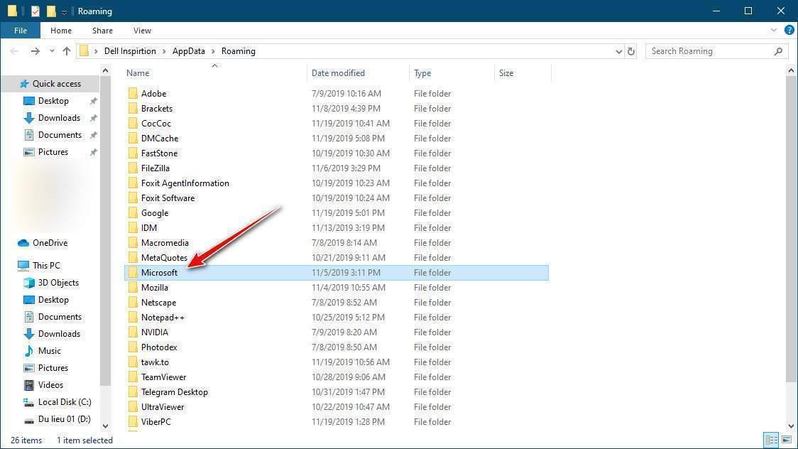 Tìm thư mục Microsoft trong Roaming