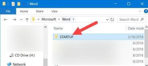 Mở thư mục Startup