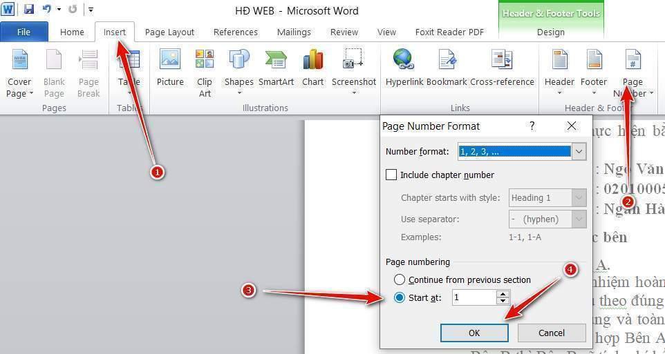 Thay đổi định dạng page number