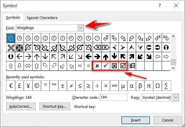 Chèn dấu tích vào ô vuông trong Word 2010