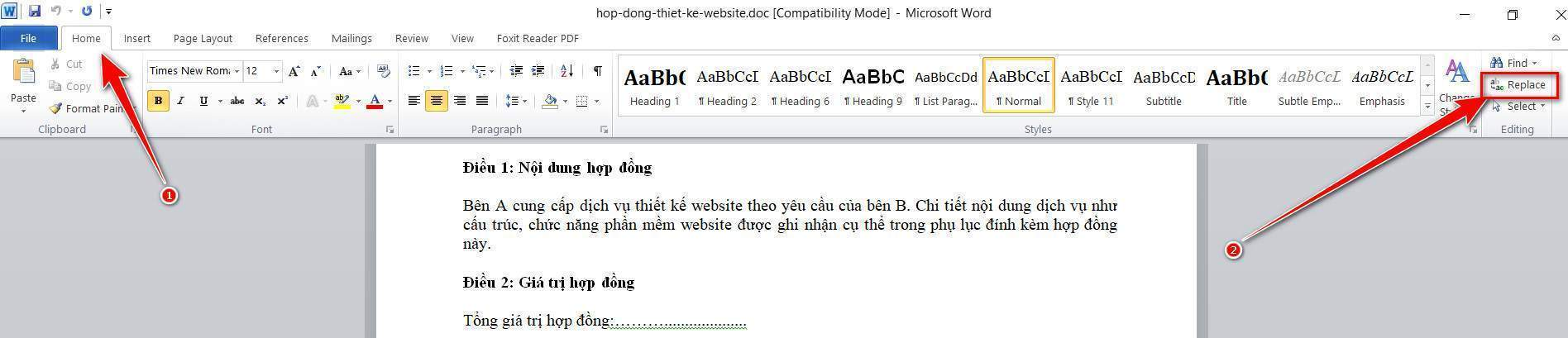 Chọn Replace trong Homepage
