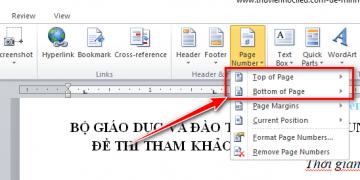 Hình 2: Cách đánh số trang trong Word 2007, 2010