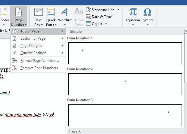 Chọn định dạng đánh số trang phù hợp