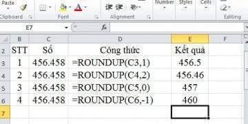 làm tròn số trong excel bằng hàm Roundup
