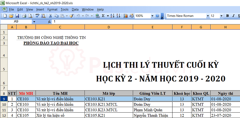 cach co dinh dong va cot trong excel 10