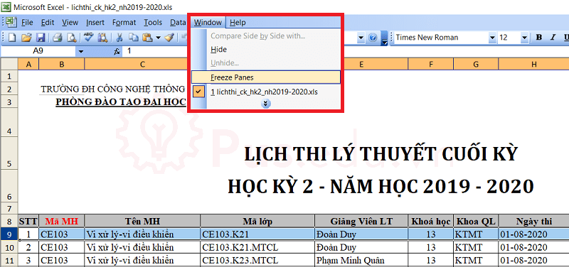 cach co dinh dong va cot trong excel 11