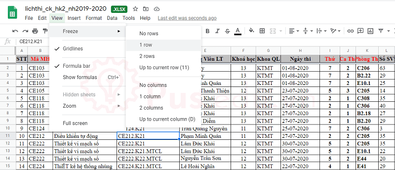 cach co dinh dong va cot trong excel 13
