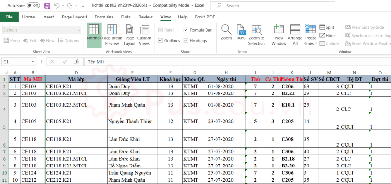 cach co dinh dong va cot trong excel 22