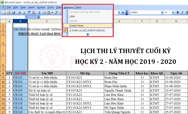 cach co dinh dong va cot trong excel 24