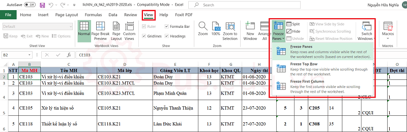 cach co dinh dong va cot trong excel 34
