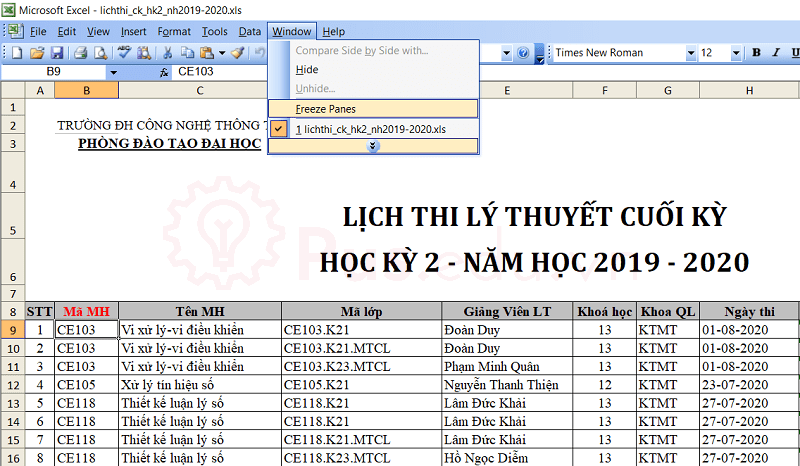 cach co dinh dong va cot trong excel 37