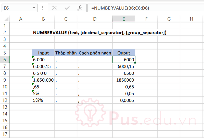 ham numbervalue trong excel 1