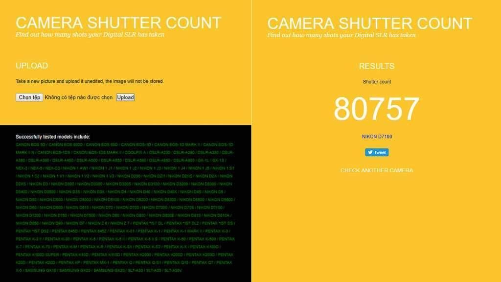 Check shot Nikon bằng Camera Shutter Count