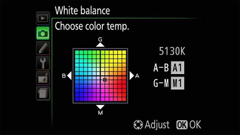 Điều chỉnh tốt White Balance Shift