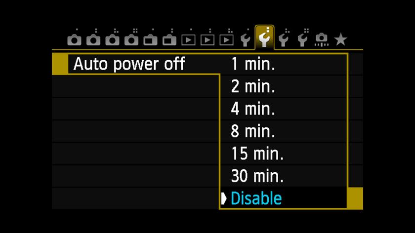 tắt chế độ tiết kiệm điện trên máy ảnh